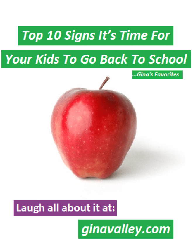 Top 10 Signs It's Time For Back To School